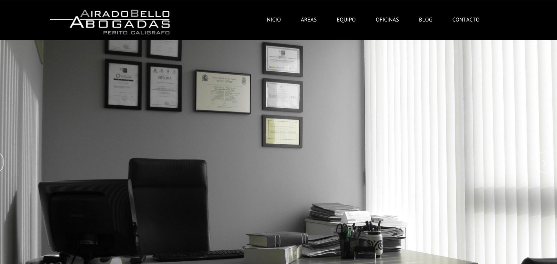 web corporativa de airado bello abogadas diseñada por xeral.net