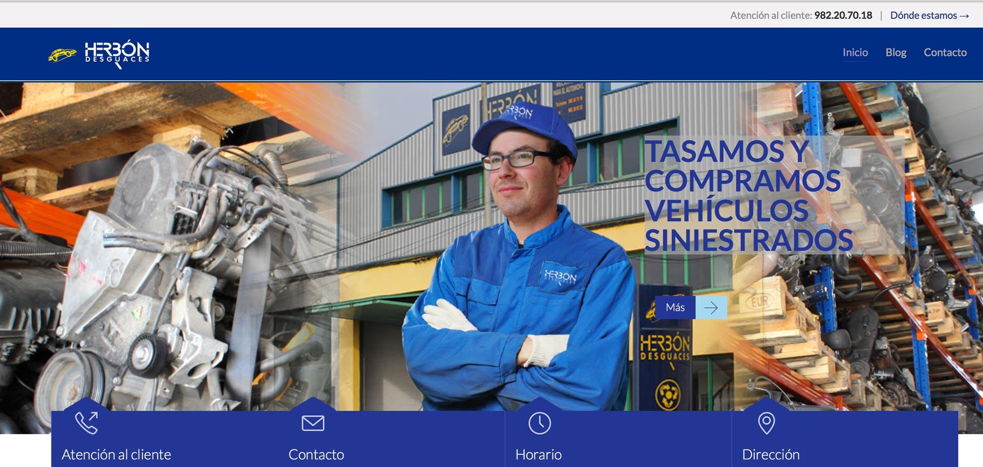 web corporativa de desguaces herbon en Lugo diseñada por xeral.net