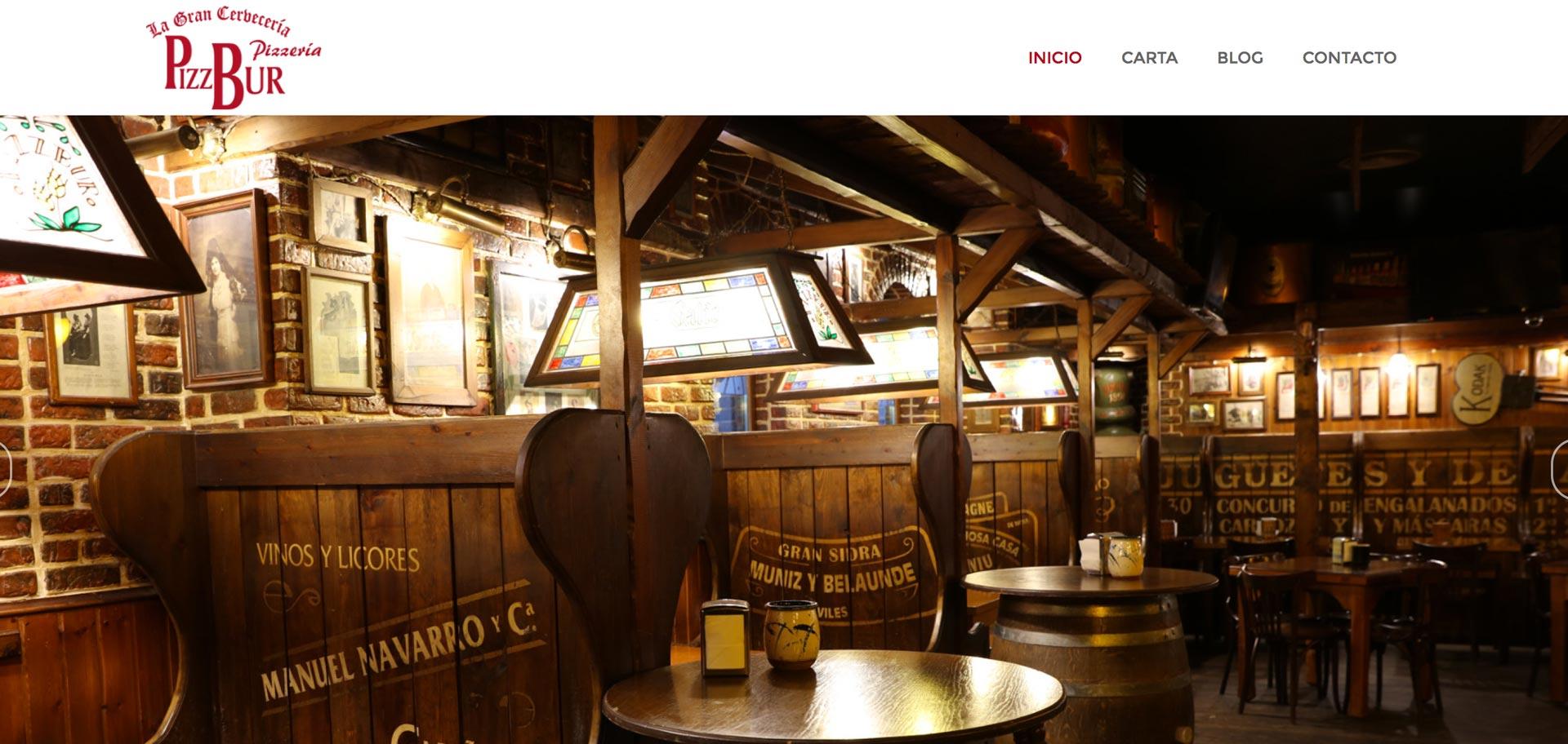 web corporativa de pizzbur lugo diseñada por xeral.net